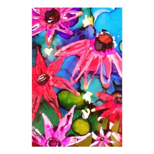 Arte rosado del jardín de flores del cono papeleria personalizada
