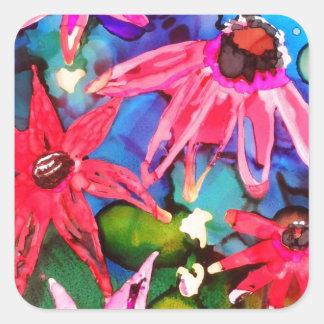 Arte rosado del jardín de flores del cono pegatina cuadrada