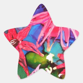 Arte rosado del jardín de flores del cono pegatina en forma de estrella