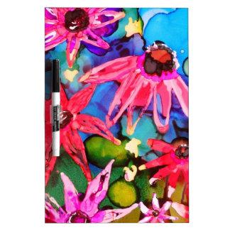 Arte rosado del jardín de flores del cono tablero blanco