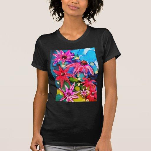 Arte rosado del jardín de flores del cono camisetas