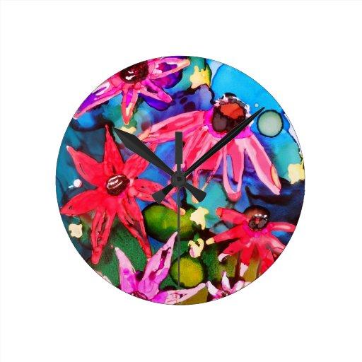 Arte rosado del jardín de flores del cono relojes