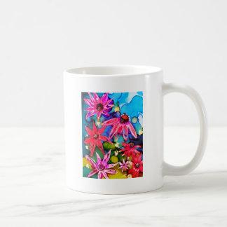 Arte rosado del jardín de flores del cono taza
