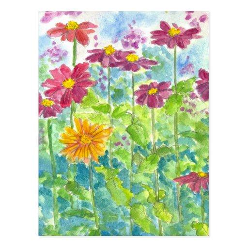Arte rosado del jardín de la acuarela del Wildflow Tarjetas Postales