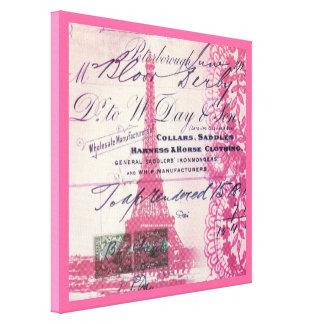 arte rosado del modelo del cordón de la torre impresiones en lienzo estiradas