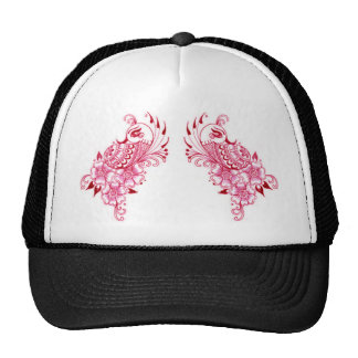 Arte rosado del pavo real de la alheña de 2 Mehndi Gorras De Camionero