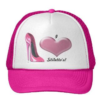 Arte rosado del zapato del tacón alto del estilete gorras de camionero