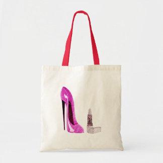 Arte rosado del zapato y del lápiz labial del esti bolsa tela barata