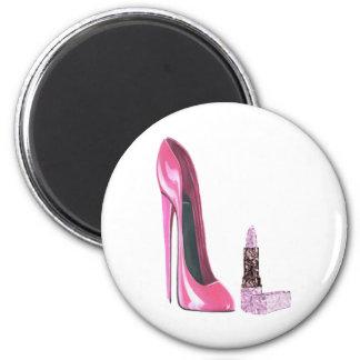 Arte rosado del zapato y del lápiz labial del esti imán redondo 5 cm