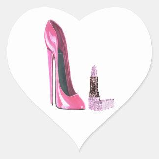 Arte rosado del zapato y del lápiz labial del pegatina en forma de corazón