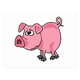 Arte rosado divertido de la original del cerdo TU Tarjetas Postales