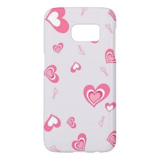 arte rosado hermoso de los corazones del amor fundas samsung galaxy s7