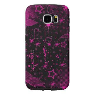 arte rosado hermoso del remolino de los corazones fundas samsung galaxy s6