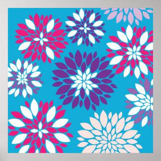Arte rosado púrpura de la flor blanca en azul del posters