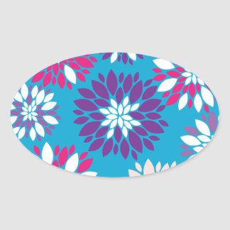 Arte rosado púrpura de la flor blanca en azul calcomania de oval
