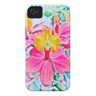 Arte rosado vibrante de la orquídea Case-Mate iPhone 4 funda
