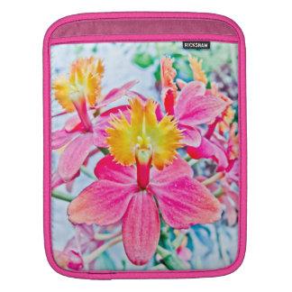 Arte rosado vibrante de la orquídea funda para iPads