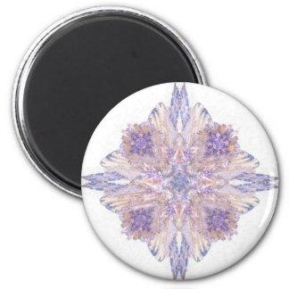Arte rosado y azul del fractal del diamante imán redondo 5 cm