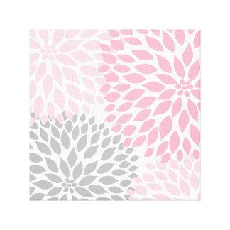 Arte rosado y gris de la pared del cuadrado de la  impresion de lienzo