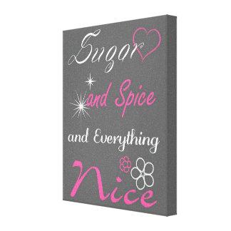 Arte rosado y gris del azúcar y de la especia del  impresión en lona
