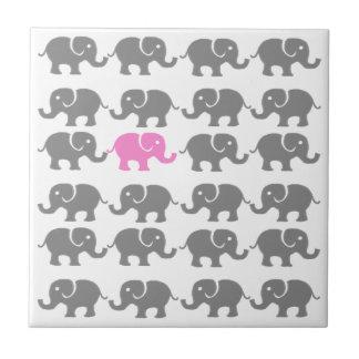 Arte rosado y gris del elefante azulejo cerámica