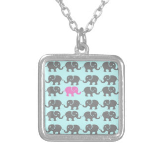 Arte rosado y gris del elefante pendientes