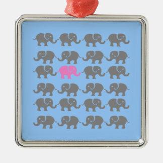 Arte rosado y gris del elefante ornaments para arbol de navidad