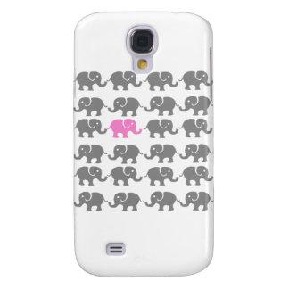 Arte rosado y gris del elefante funda para galaxy s4