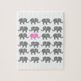 Arte rosado y gris del elefante puzzle