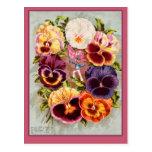 Arte rosado y púrpura bonito del vintage de los pe tarjetas postales