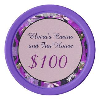 Arte rosado y púrpura de la flor juego de fichas de póquer