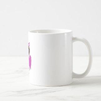 Arte rosado y púrpura del vector del búho tazas de café