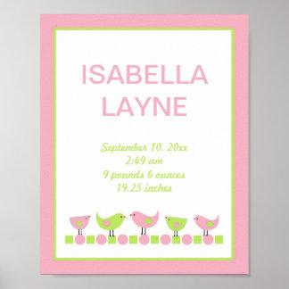 Arte rosado y verde de la pared del cuarto de póster