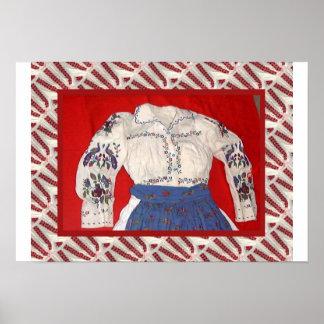 Arte rumano, blusa bordada póster
