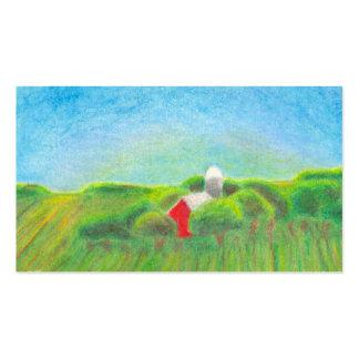 Arte rural del creyón del paisaje del granero rojo tarjetas de visita