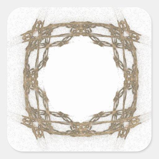 Arte rústico del fractal de la mirada del alambre pegatina cuadrada