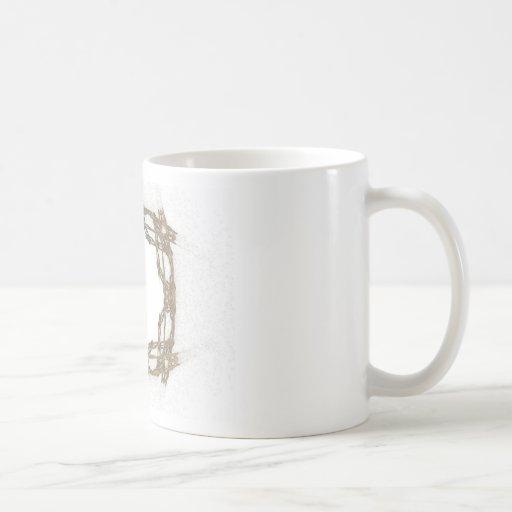 Arte rústico del fractal de la mirada del alambre taza