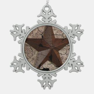 Arte rústico del país occidental de la estrella de adorno de peltre en forma de copo de nieve