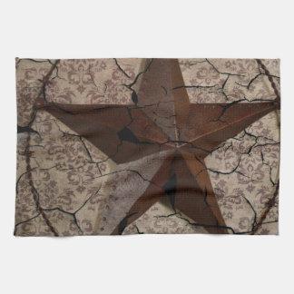 Arte rústico del país occidental de la estrella de toalla de mano