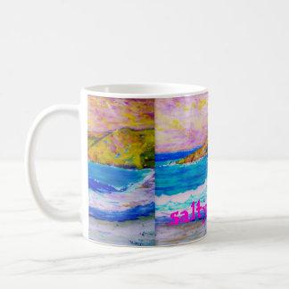 arte salado de las ondas taza de café