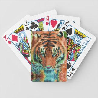 Arte salvaje de la fauna del gato grande de la ref barajas de cartas