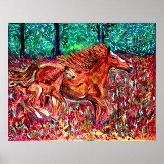 Arte salvaje de los posters de los caballos por