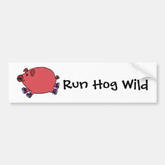 Arte salvaje del cerdo corriente divertido pegatina para auto