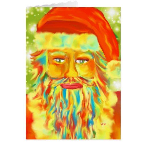 "Arte Santa de ""Claus colorido"" Digital Felicitación"