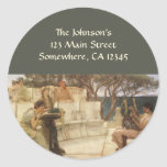 Arte, Sappho y Alcaeus del vintage de Alma Tadema Pegatina Redonda