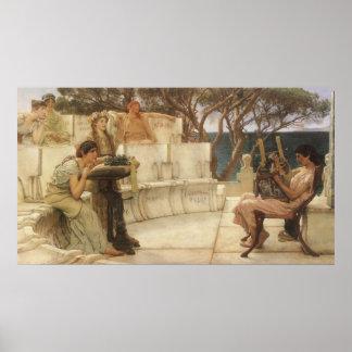 Arte, Sappho y Alcaeus del vintage de Alma Tadema Póster