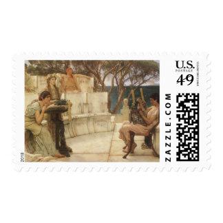 Arte, Sappho y Alcaeus del vintage de Alma Tadema Sello