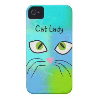 """Arte """"señora de los amantes del gato del gato """" Case-Mate iPhone 4 protector"""