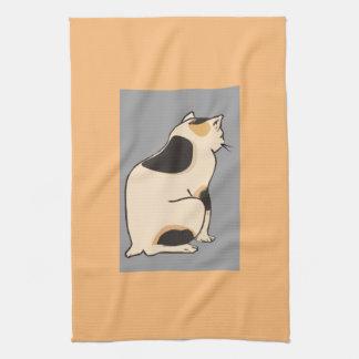 Arte sereno del gato de calicó toalla de mano
