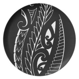 Arte silverfern blanco del símbolo nacional de platos